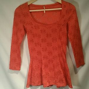 Free People Coral Lace Top w/peplum bottom XS